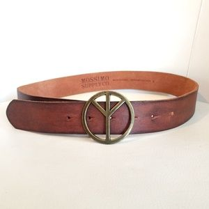 Mossimo Peace Sign Buckle Brown Leather Belt
